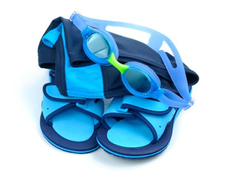 Blue childish swimming set isolated over white background photo