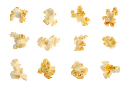 Popped kernels of corn isolated over white background
