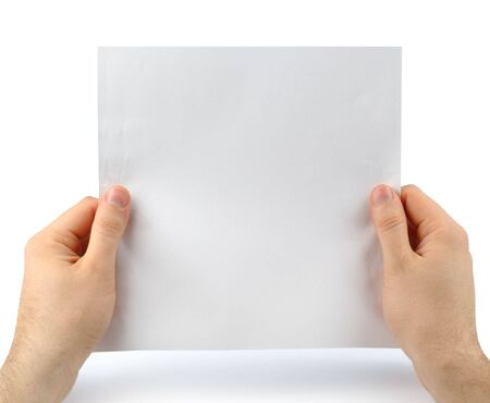 Male hands with clean sheet of paper