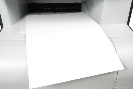 Sheet of paper over printer isolated photo