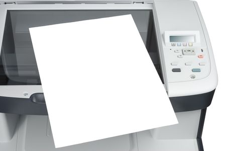 white sheet: Sheet of paper over scanner isolated over white background