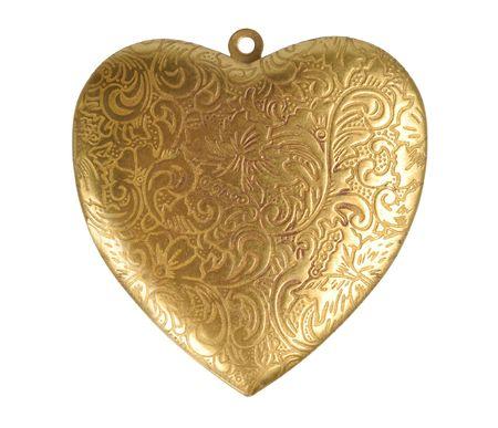 pendant: Old ornate golden heart isolated over white