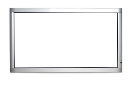 tv stand: Wall version of plasma TV isolated over white background