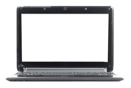 Black ultra portable laptop isolated over white photo