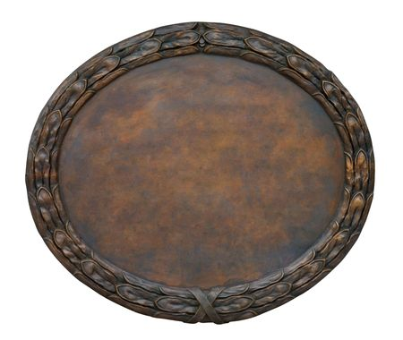 oxidated: Brass brown ornate plate framed background texture Stock Photo