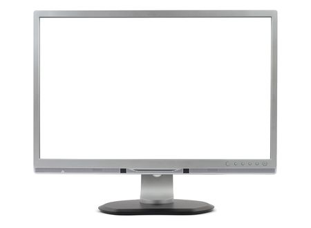 computer peripheral: New silver computer monitor isolated on white