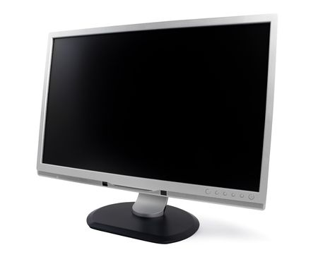 flat panel monitor: New silver computer monitor isolated on white