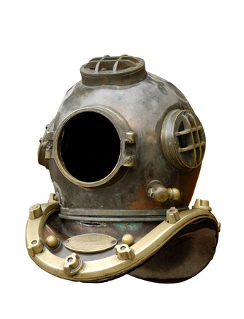 Antique diving equipment isolated on white background Stock Photo