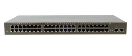 network switch: Network switch with 52 ports isolated over white background.