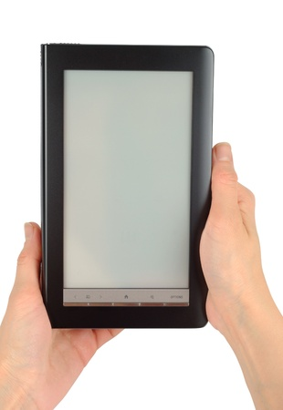 Female hands with electronic book isolated  Stock Photo