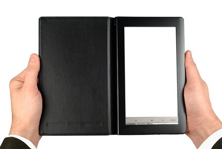 Male hands suit dressed holding electronic book isolated Stock Photo - 8305930