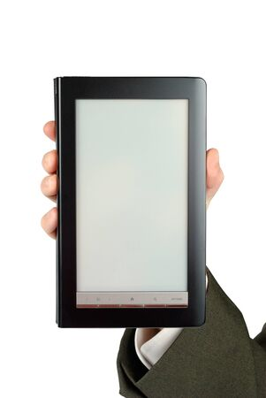 Male hand suit dressed holding electronic book isolated Stock Photo - 8305926