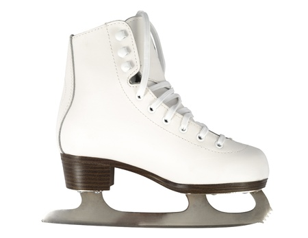 figure skating: White skate isolated  over white background Stock Photo
