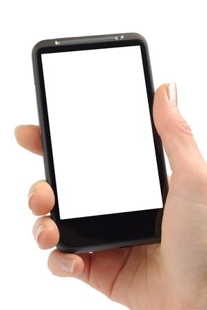 phone button: Vrouwelijke hand met moderne smartphone geïsoleerd op witte achtergrond