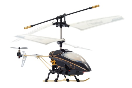 Wireless toy helicopter isolated over white photo