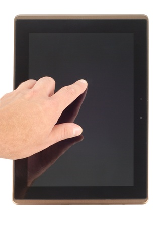 Male hand finger pointing to pad screen isolated on white background. Clipping path included. photo