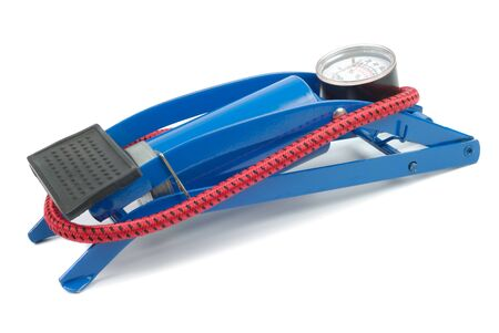 pedal: Blue air pump isolated over white background with clipping path