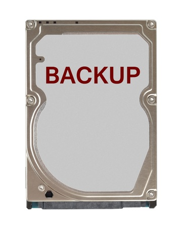 hard disk drive: Notebook hard disk drive with red label backup isolated over white background