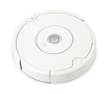 Robot vacuum cleaner isolated with clipping path over white background Stock Photo - 12205202