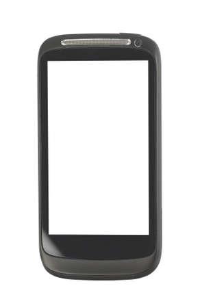 Black smartphone isolated on white background photo