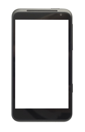 Big black smartphone isolated on white background