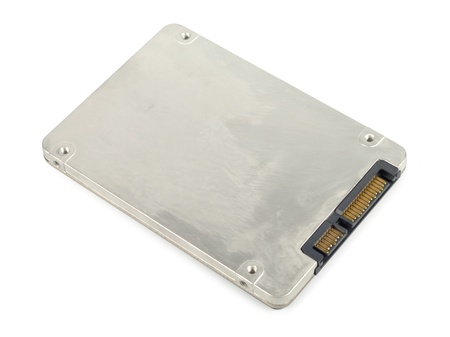 Metallic ssd disk drive isolated photo