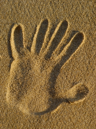Stamp of a hand on beach wet sand photo