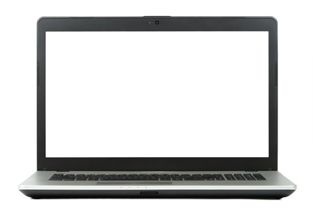 New gray laptop isolated with clipping path over white background
