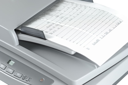 Scanner with document isolated over white background Stock Photo