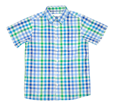 fashion clothes: Checked colored t-shirt for boy isolated with clipping path over white background