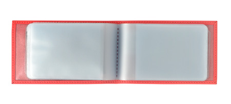 work book: Red business card holder isolated with clipping path over white background