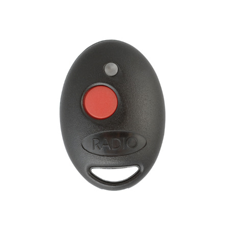 cut out device: Black plastic remote control isolated with clipping path over white background