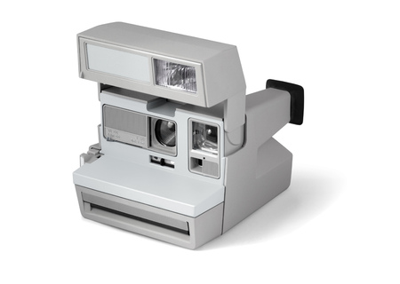 Old retro camera isolated woth clipping path over white background Stock Photo