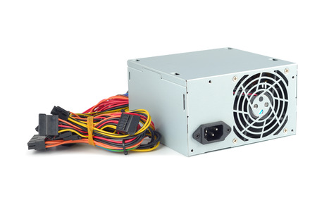 computer hardware: Power supply of PC isolated with clipping path on white background