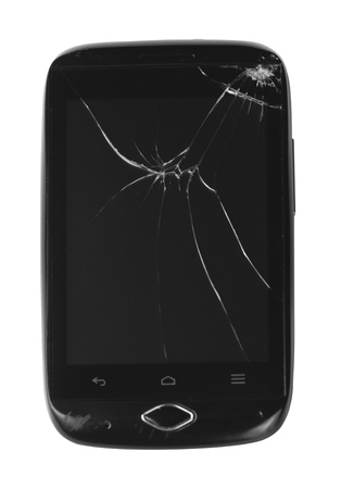 call outs: Worn cracked smartphone isolated. Stock Photo