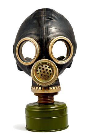 Black worn gas mask isolated.