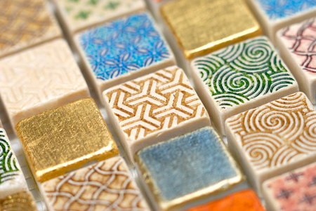 fragment: Fragment of colourful decorative wall mosaic Stock Photo