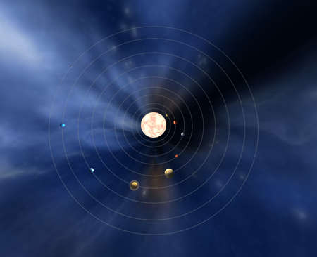 nebulous: Diagram of our solar system with planets Stock Photo
