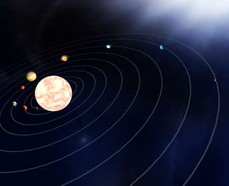 Diagram of the planets in the Solar System Stock Photo - 11070895