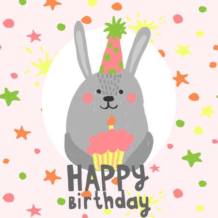 Cute birthday rabbit with little cake Illustration