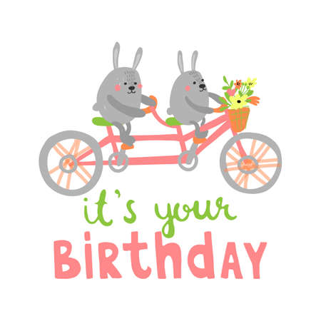 Cute Happy Birthday card with funny animals. Cartoon vector illustration with rabbits on tandem in pastel colors.