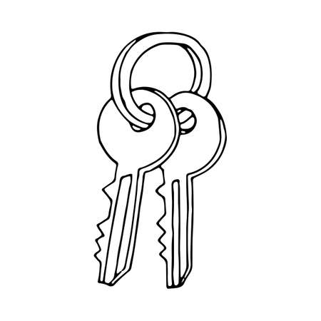 Key icon in doodle sketch lines. Safety protection house home property