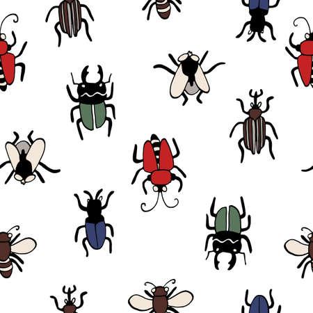 vector pattern beetles, line drawing pen,