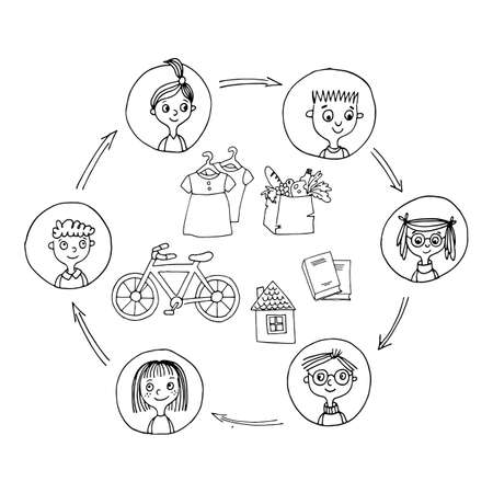 Sharing economy and smart consumption concept. Vector illustration in cartoon style. People save money and share resources. Vectores
