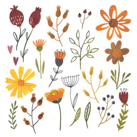 Gouache flowers and leaves - autentic hand drawn elements