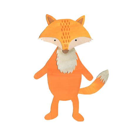 cute and pretty fox papercut handdrawn collage illustration