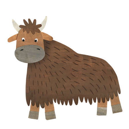 Cute yak cartoon hand drawn gouache illustration