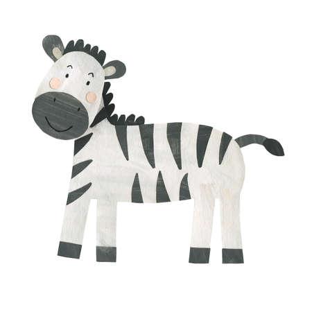Cute Little zebra print collage paper cut gouache illustration