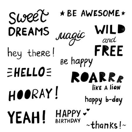 Happy Birthday Party lettering sign quote typography set. Calligraphy design for postcard poster graphics. Simple vector brush sign