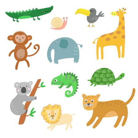 African animals, jungle tropical animals clipart, isolated vector set Stockfoto - 131575486